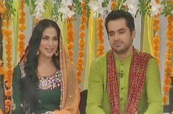 Veena Malik With Her Husband In Geo Tv Moning Show