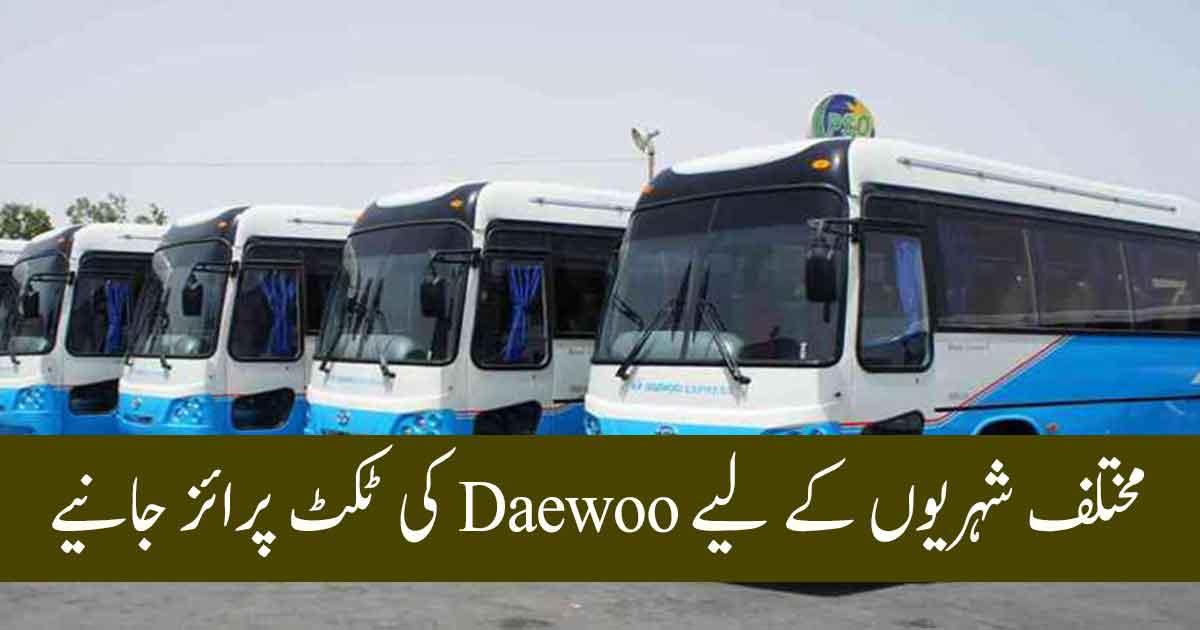 Daewoo Bus Ticket Price Fares