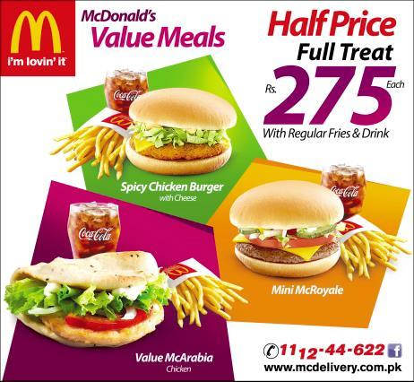 Mcdonald s pakistan value meals now for rs 275 for Family deal com