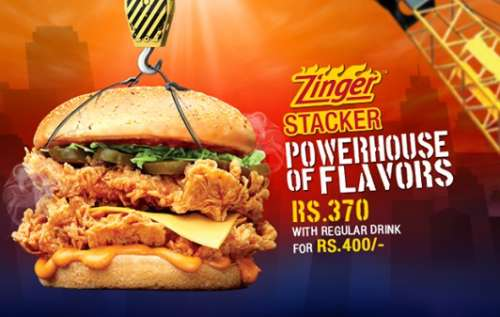 Kfc Zinger Stacker Prices Is Rs 370