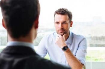 man in interview