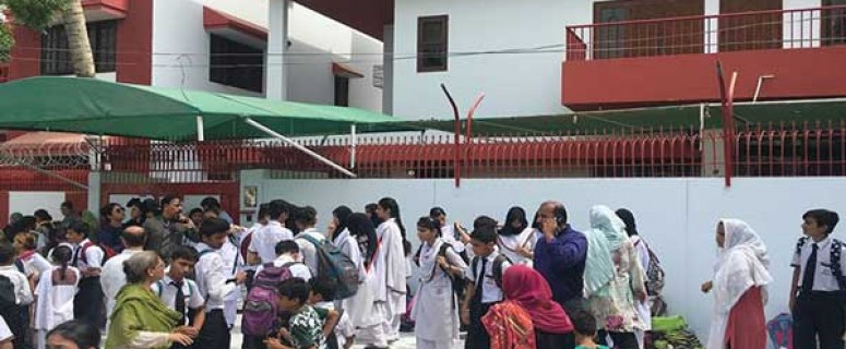 protest outside sealed school