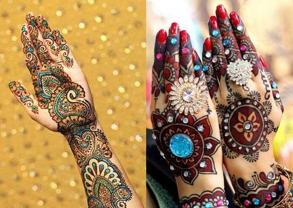 glitter bridal mehndi