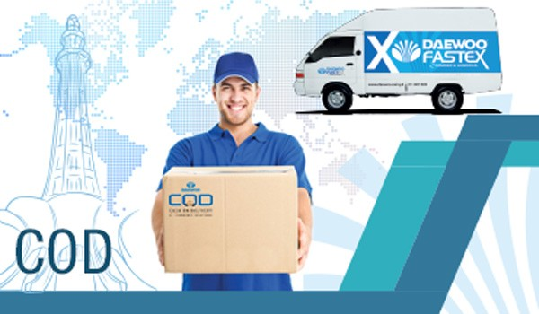 a courier picking a delivery parcel