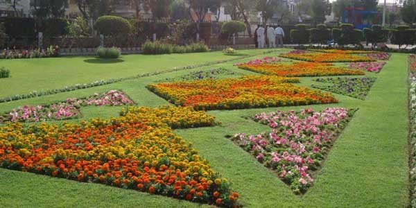 geometrical shaped flower beds