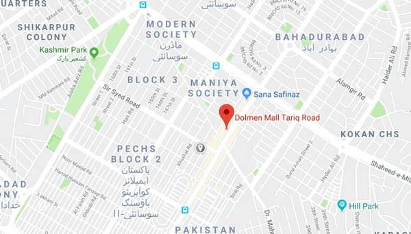 dolmen mall tariq road map