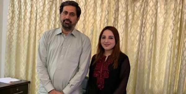 Hareem Shah with PTI leader