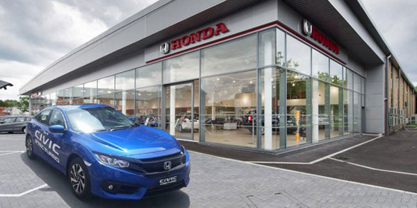 honda civic car outside showroom