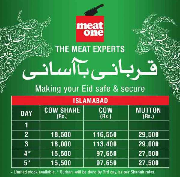 meat one islamabad rates