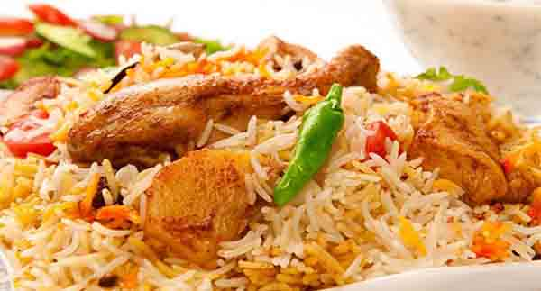 chicken biryani in plate